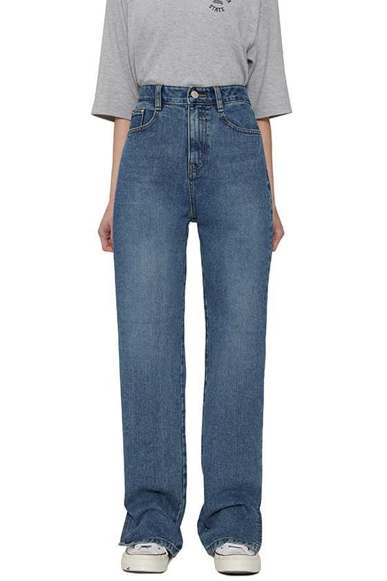 韓國空運 - Denise slit straight jeans 牛仔褲