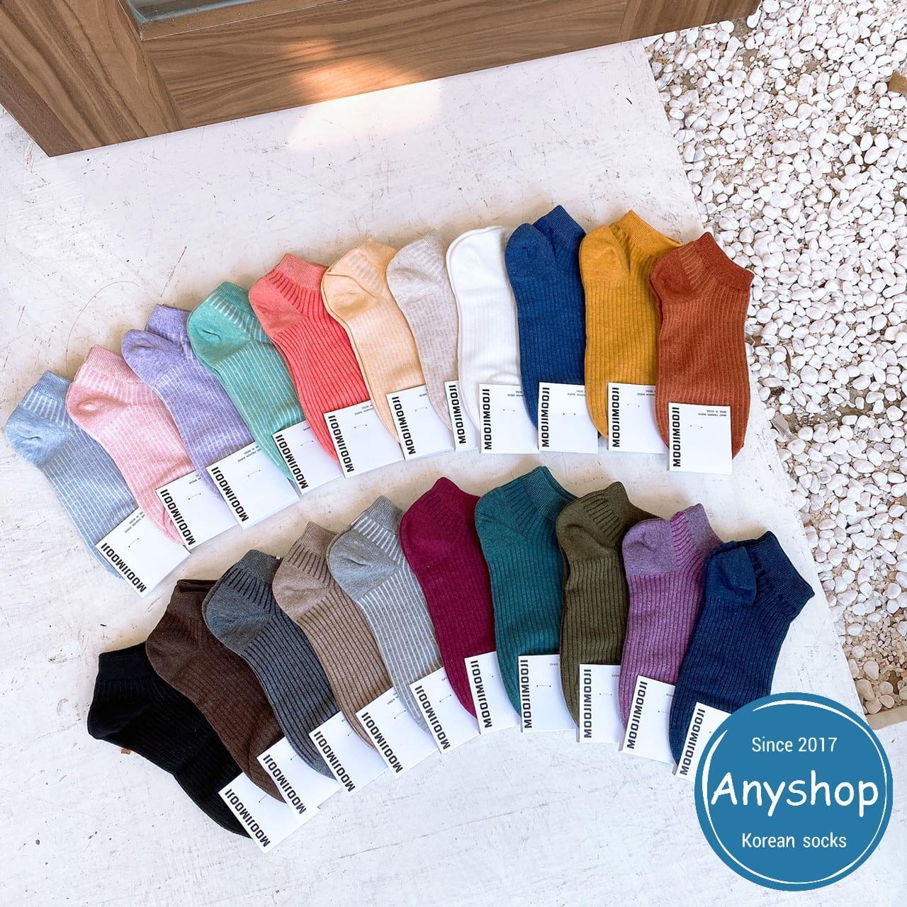 韓國襪-[Anyshop]經典素色多彩短襪