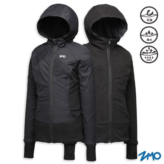 【ZMO】女輕暖天鵝絨刷毛外套(可兩面穿)- 黑色