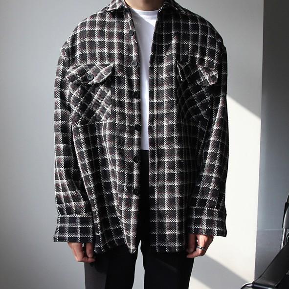 正韓粗花呢羊毛格紋長袖襯衫 2 色 YUPPIE 預購商品 0118