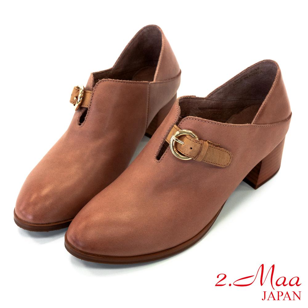 2.Maa 率性風格‧打蠟羊皮U口扣帶牛津跟鞋 - 豆沙