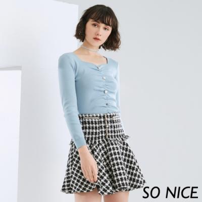 SO NICE優雅五角領抽皺包芯紗上衣