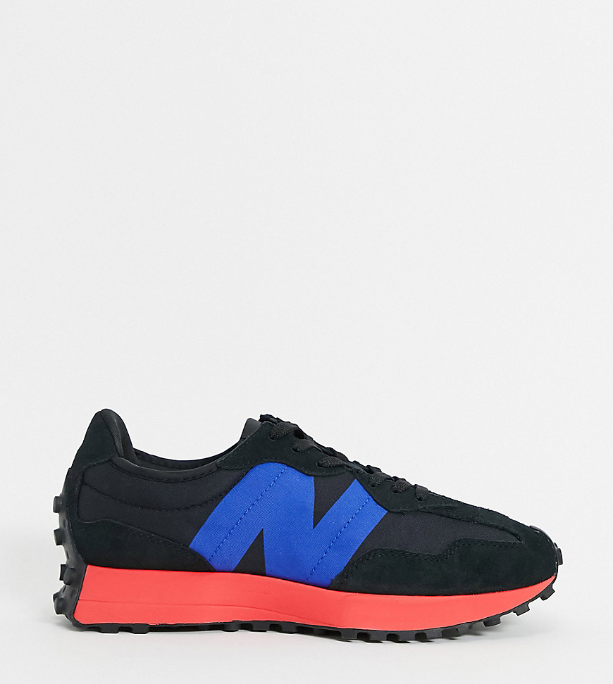 New Balance 327 trainers in black and red