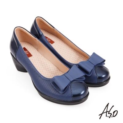 A.S.O 紓壓氣墊蝴蝶結奈米通勤鞋-藍色