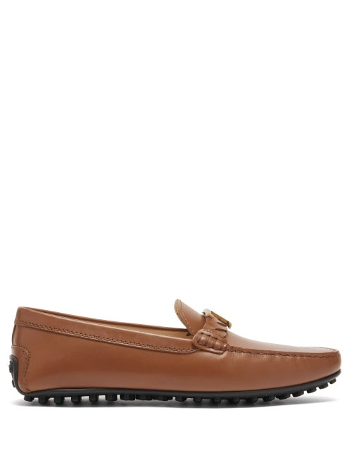 Tod's - Gommino Logo-plaque Leather Loafers - Womens - Tan