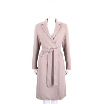 Max Mara-'S Max Mara POLLY 灰粉色長版純羊毛綁帶大衣 外套