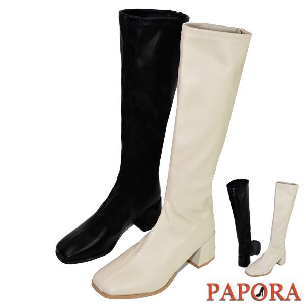 PAPORA長靴 皮質素面後拉鍊粗跟長靴 方頭高跟高筒靴