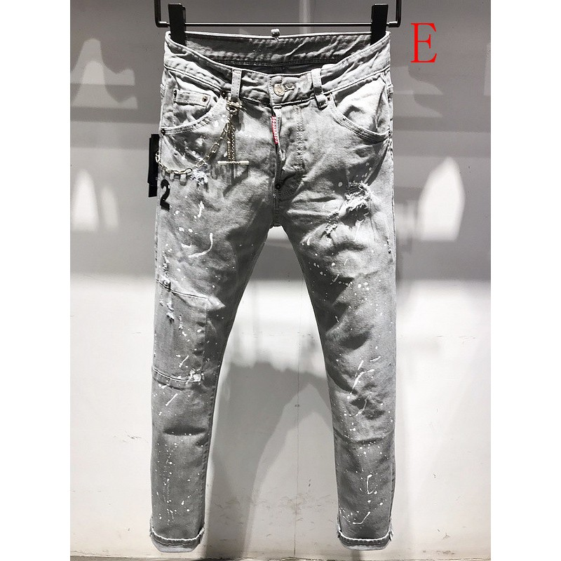 特惠DSQUARED2 COOLGUY JEANS 微錐直筒褲丹寧牛仔長褲 D2磨破水洗牛仔褲 潑墨破洞牛仔褲