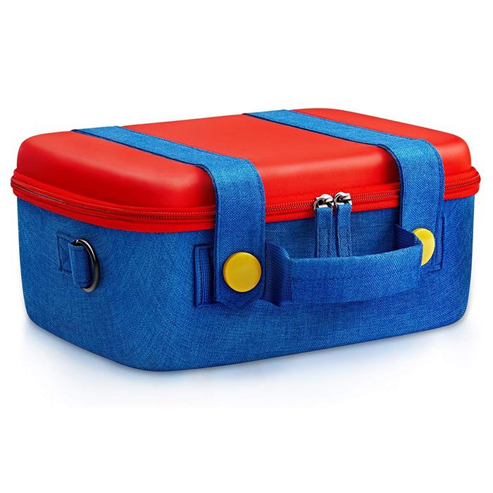 【NS周邊】紅藍配色吊帶褲造型大容量主機收納包(可塞進NS主機以及全部原廠配件)