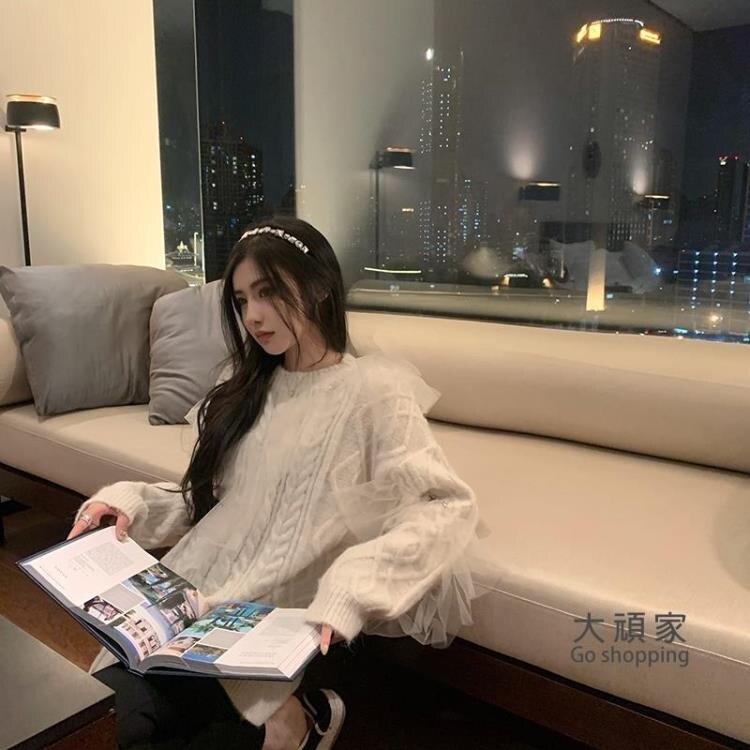 新年特惠 針織衫 慵懶風大毛衣2020年新款女秋冬外穿網紗拼接麻花套頭針織衫T