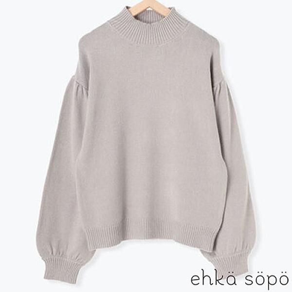 「Winter」蓬袖高領剪裁套頭針織衫 (提醒 SM2僅單一尺寸) - Sm2