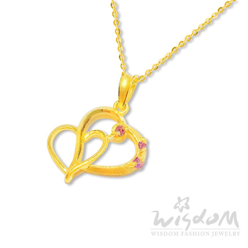 威世登 黃金心型鑲粉石墜(不含鍊) 金重約0.44~0.46錢 禮物推薦 GD01923-EEX-FIX