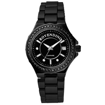 Roven Dino羅梵迪諾 馨彩典藏時尚晶鑽陶瓷腕錶(黑)-RD6046-796-B