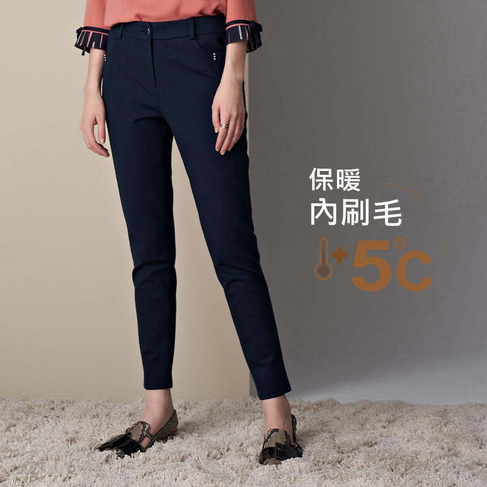 ILEY伊蕾 厚實感內刷毛羅馬布直筒長褲(黑/藍)051697