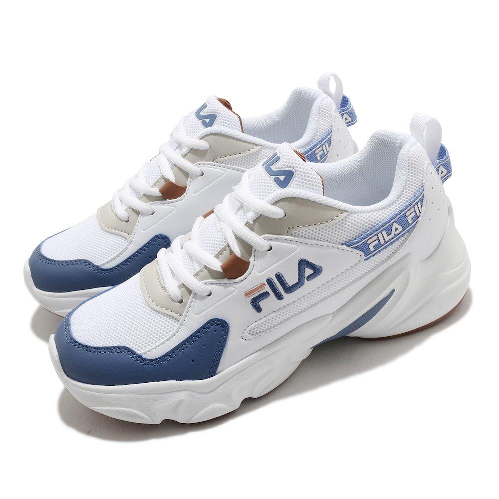 FILA 休閒鞋 Hidden Tape2 厚底 女鞋 斐樂 老爹鞋 穿搭推薦 復古慢跑鞋 白 藍 [5J329V133]