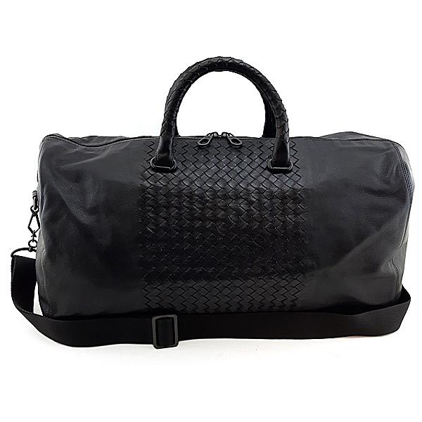 【奢華時尚】BOTTEGA VENETA 黑色編織皮革手提肩背兩用KeepAll旅行袋(八八成新)#24792