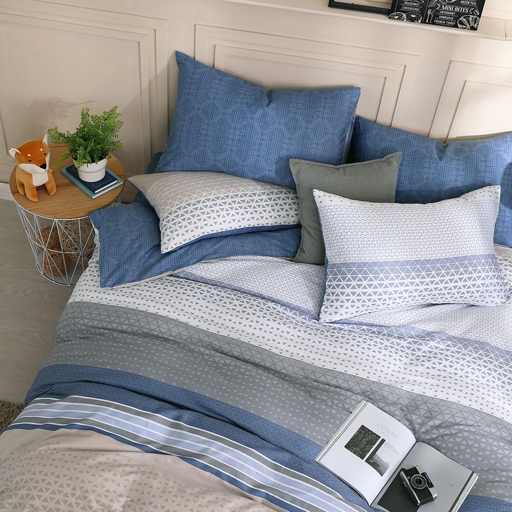 鴻宇 純棉床包枕套組 被套 特調藍 台灣製C20107