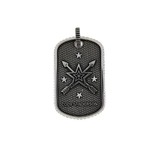 SMALL STARS & CROSSED ARROWS DOG TAG WITH OUTSIDE COIN EDGE     [USD $770]