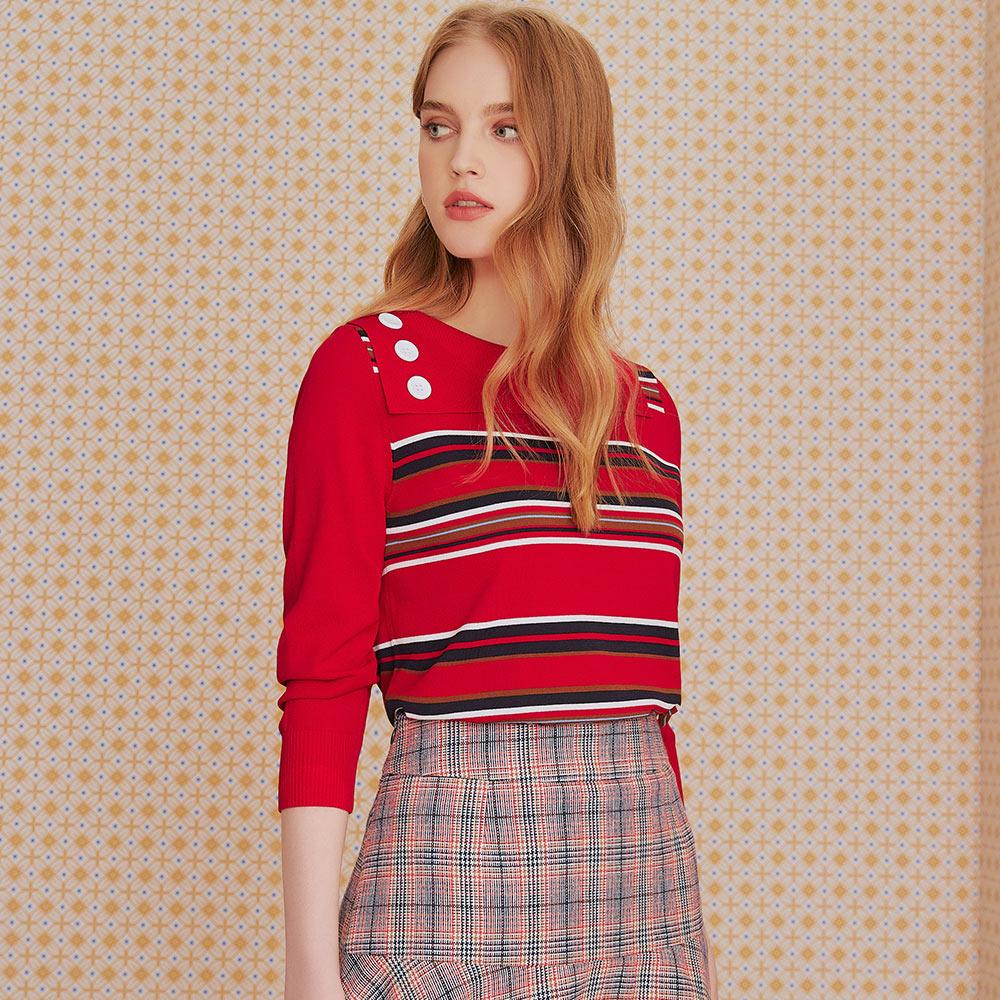 OUWEY歐薇 不規則翻領條紋針織上衣(藍/綠/紅)J69505