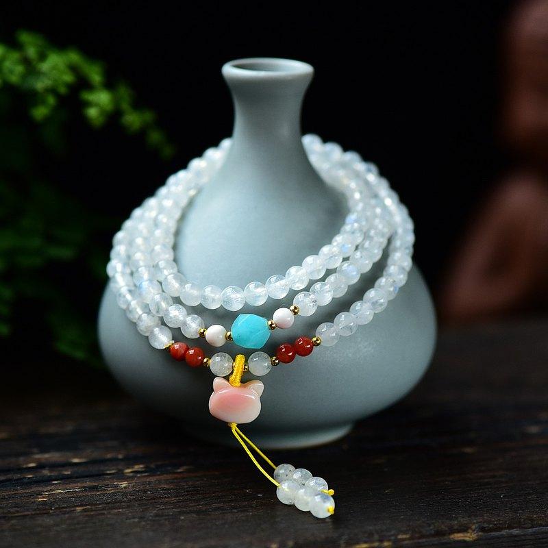 精品天然月光石5MM三圈手鏈 顆顆帶藍光 可愛唯美上手顯膚色