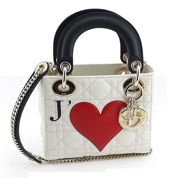 【奢華時尚】DIOR 白色菱格紋金釦JE T′AIME 手提斜背兩用Lady Dior黛妃包(九九成新)#24812