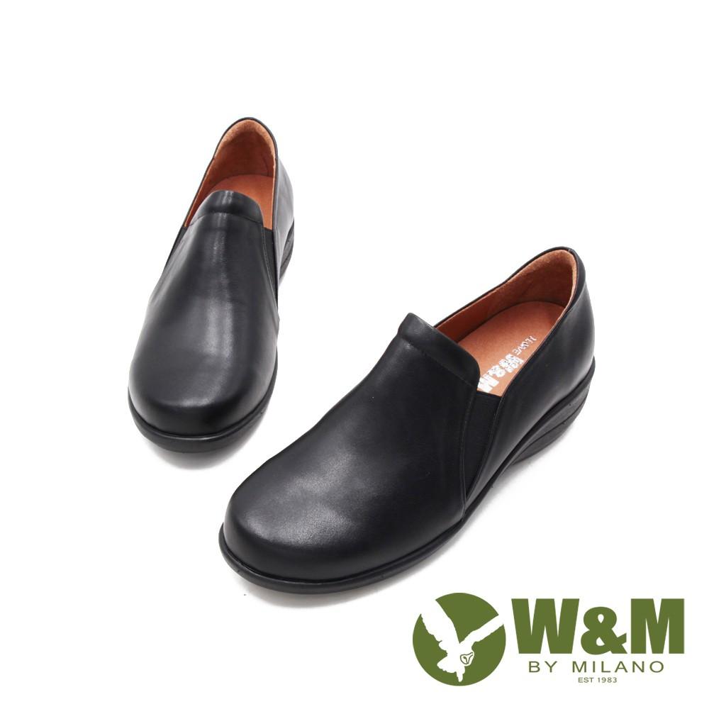 W&M(女)圓頭舒適厚底坡跟楔型鞋 女鞋-黑(另有咖)