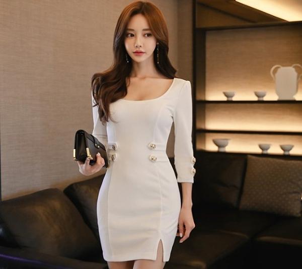 現貨白XL長袖洋裝連身裙禮物36096