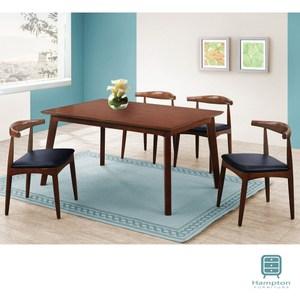 【Hampton 漢汀堡】埃絲本樟木色4尺全實木餐桌椅組-1桌4椅