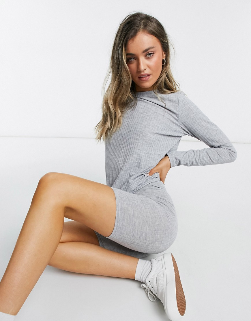 Miss Selfridge co-ord ribbed long sleeve t-shirt in grey