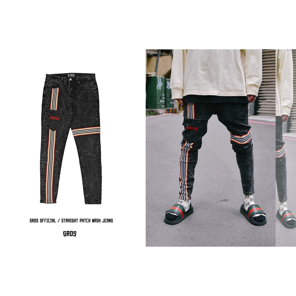 GRDS Official / STRAIGHT PATCH WASH JEANS / 直紋配布洗雪花牛仔彈性褲