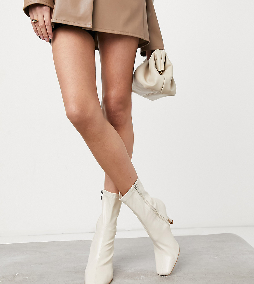 Public Desire Wide Fit Sacci sock boots in stone-Cream