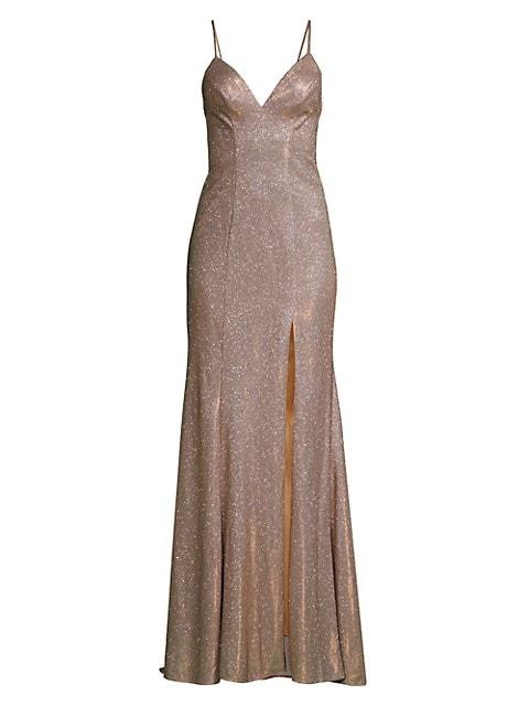 Metallic Shimmer Slit Gown