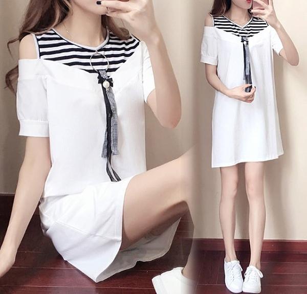 現貨白色XL性感露肩洋裝T裙連身裙XL-5XL中大尺碼16771/韓版拼接露肩長款連身裙