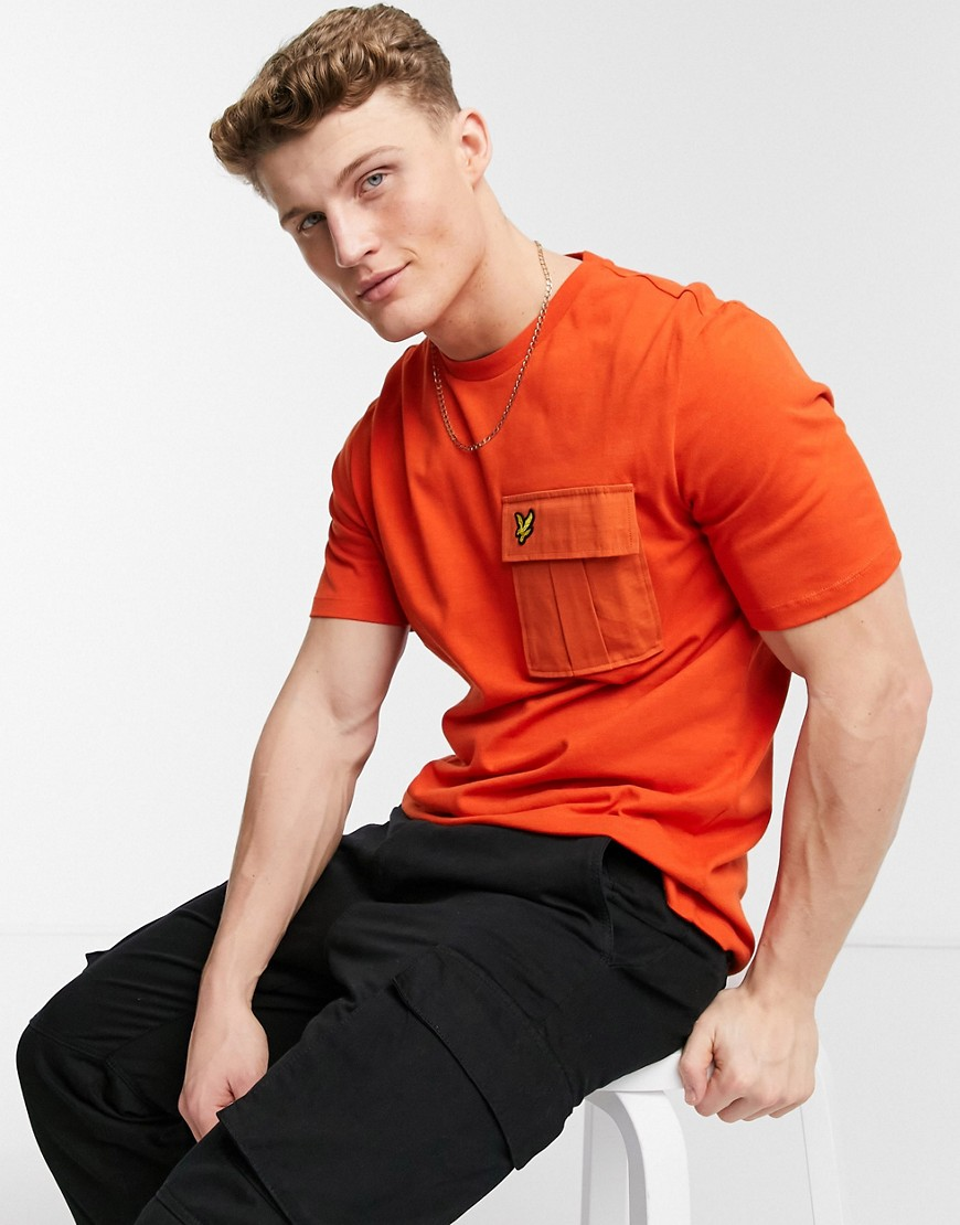 Lyle & Scott t-shirt with ripstop pocket in orange