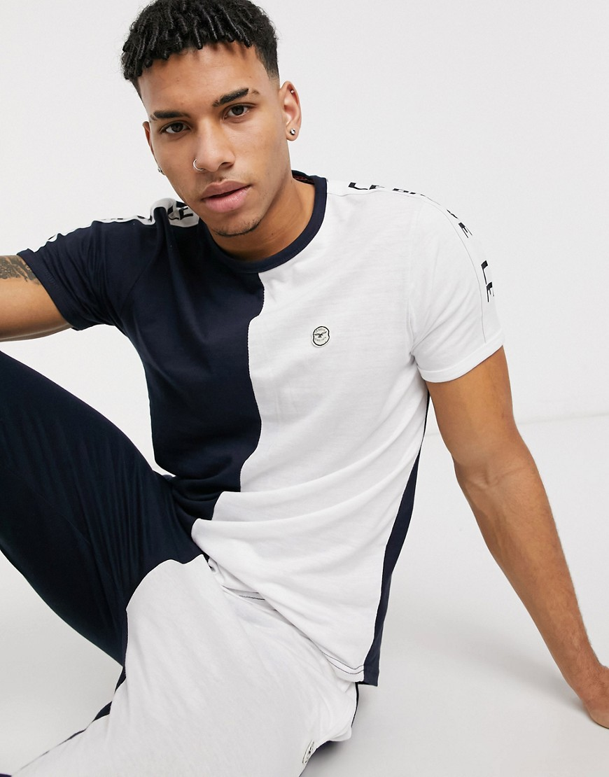 Le Breve lounge t-shirt co-ord in navy and white