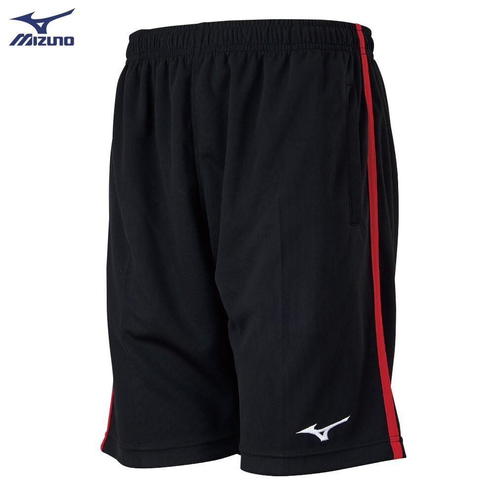 MIZUNO 男裝 短褲 羽球 手球 針織 吸汗快乾 黑紅【運動世界】72TB1A0196