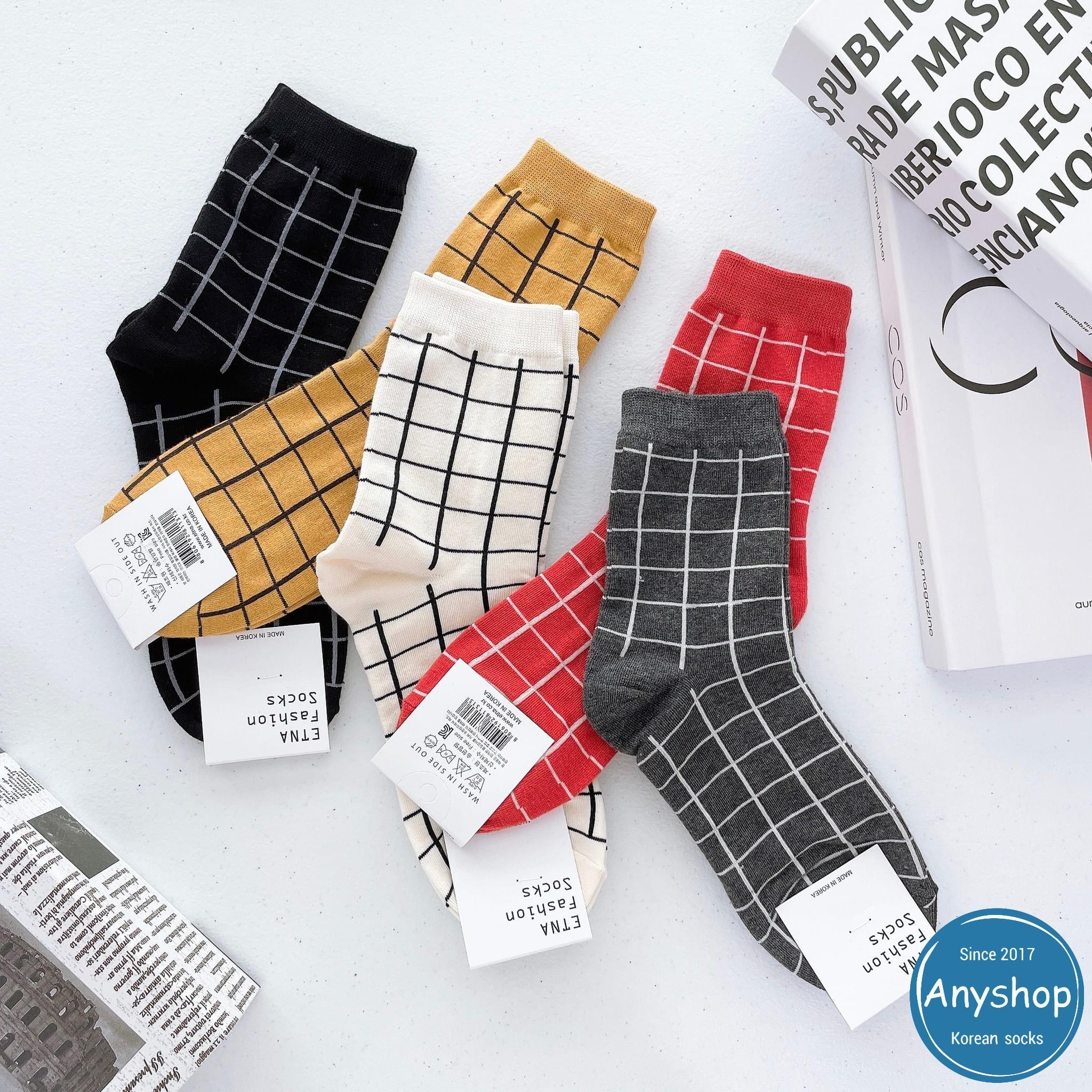 韓國襪-[Anyshop]寬格紋細線長襪