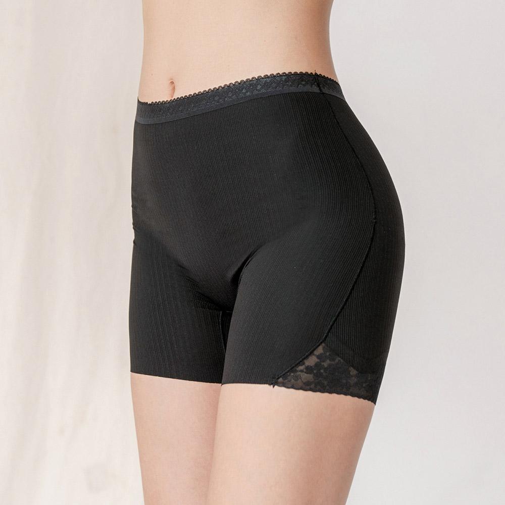 不能說的秘密 蠶絲微雕塑透氣安全褲 (黑)