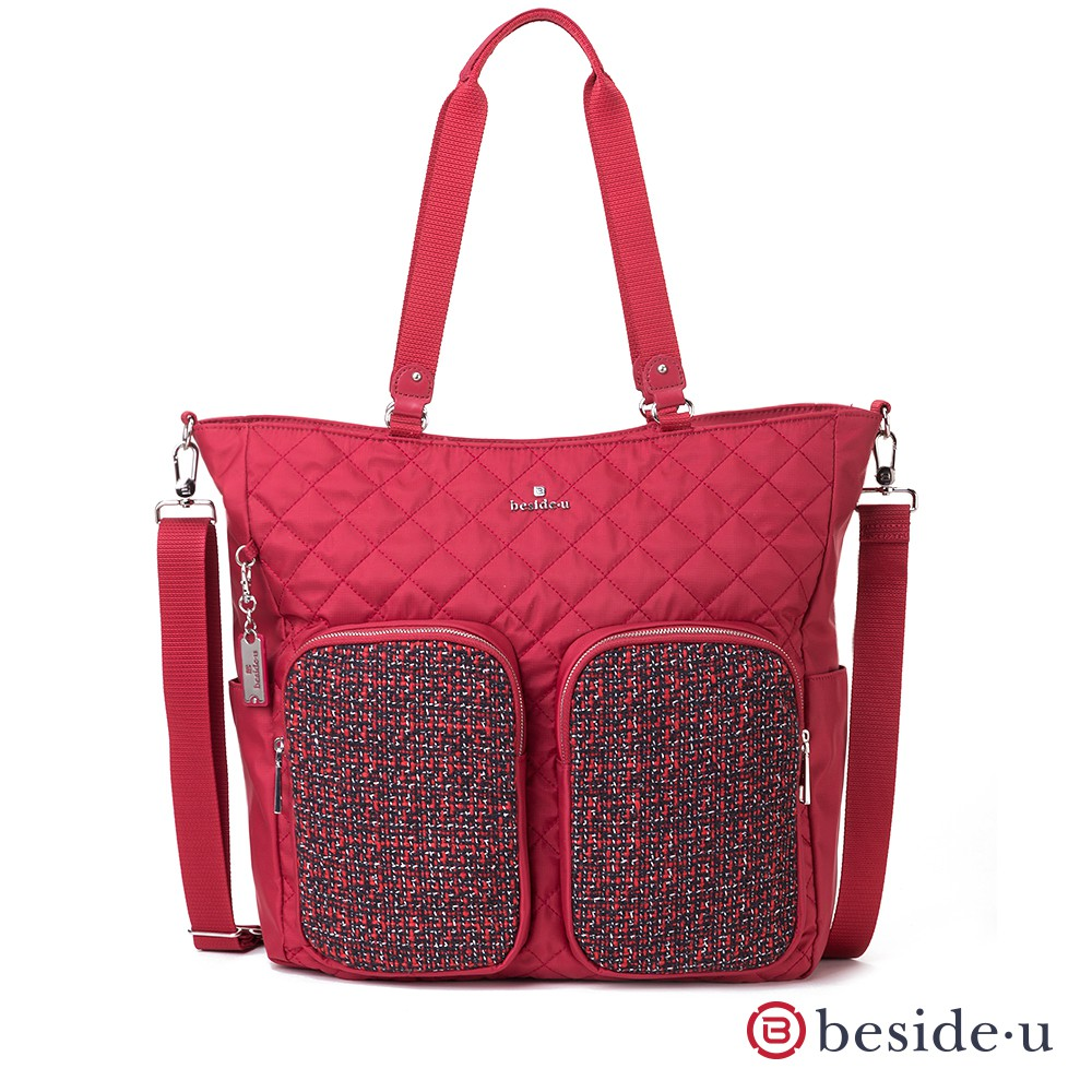beside u BTTD 大容量菱格紋車線拼接編織造型口袋托特包側背包兩用包 – 紅色季節限定 官方直營