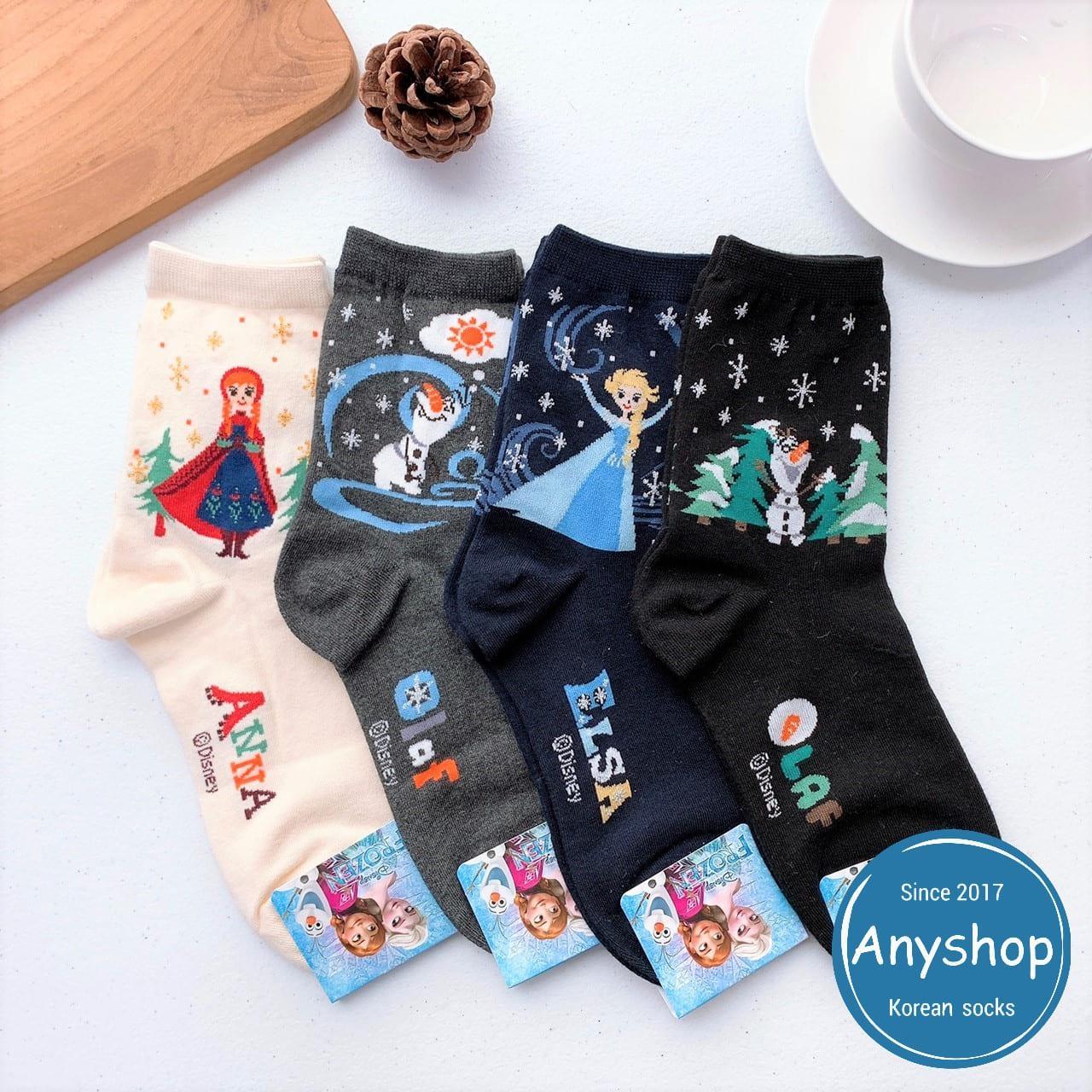 韓國襪-[Anyshop]冰雪奇緣中筒襪
