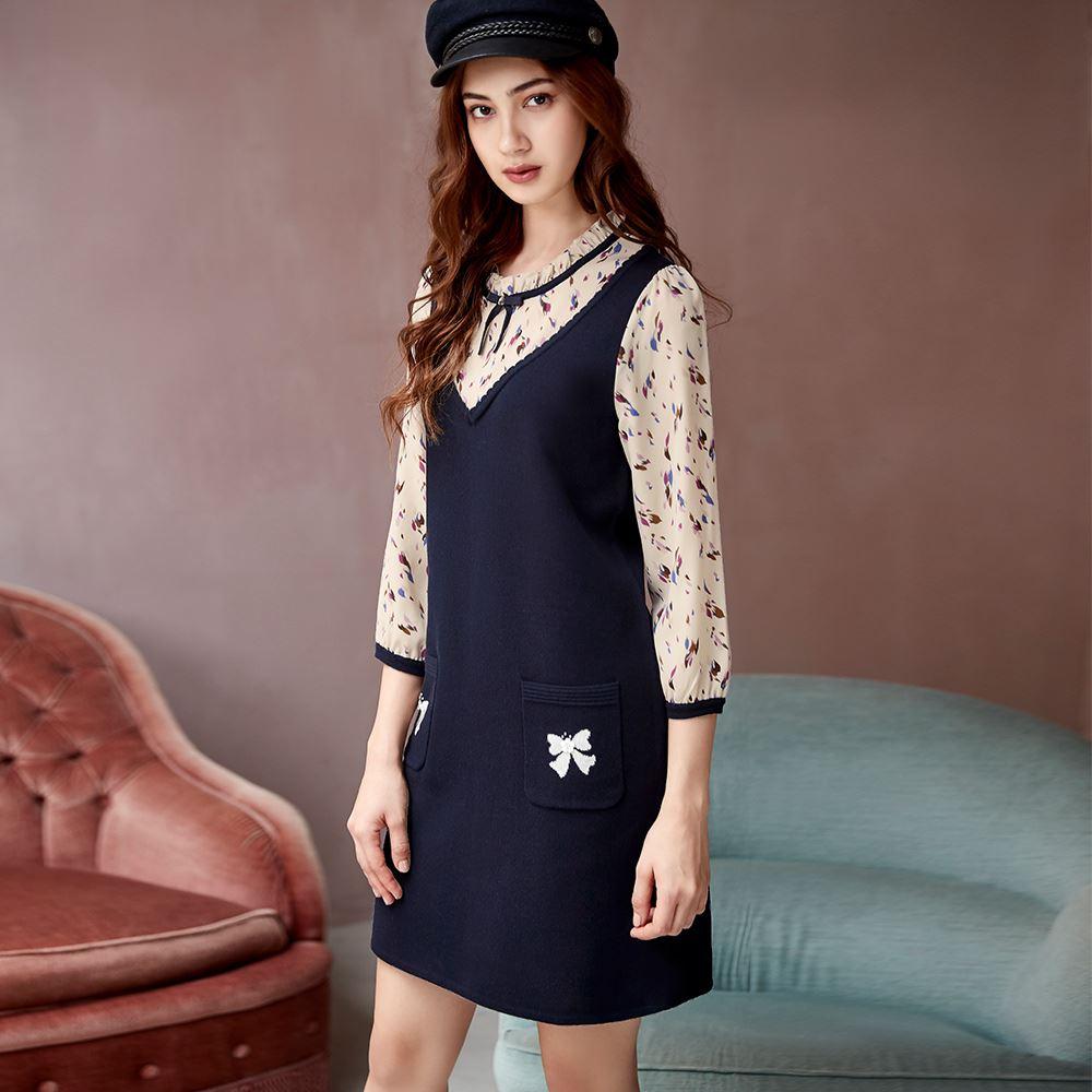 ILEY伊蕾 抽象印花針織拼接洋裝(藍)090508