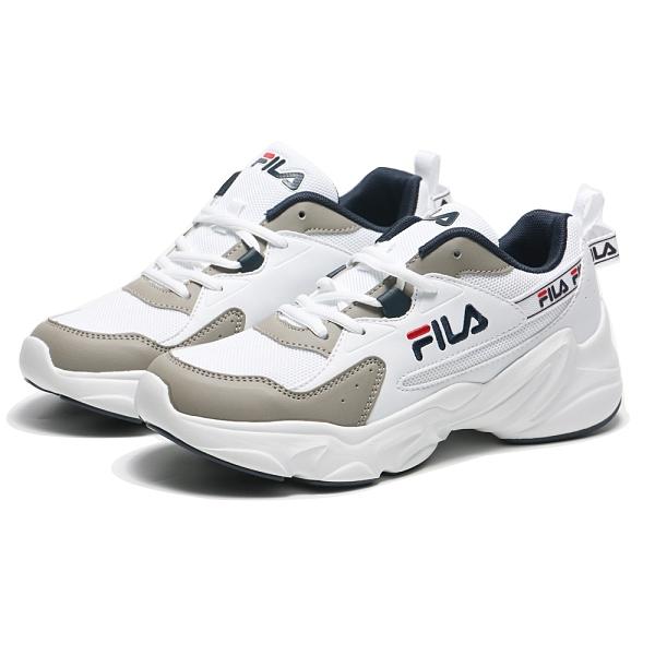 FILA 休閒鞋 HIDDEN TAPE 2 復古 白 灰藍 後串標 老爹鞋 男 (布魯克林) 1J329V143