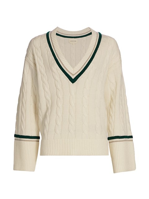 Varsity Wool & Cashmere Cable-Knit Sweater