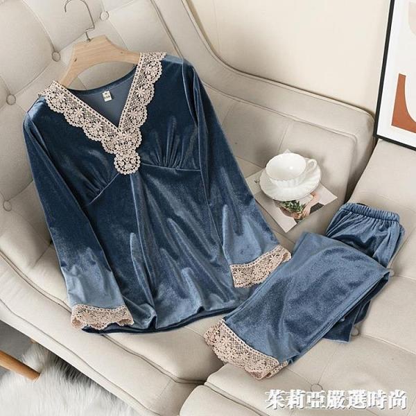 金絲絨睡衣女秋冬性感長袖長褲兩件套裝韓版套頭家居服春秋可外穿 茱莉亞嚴選