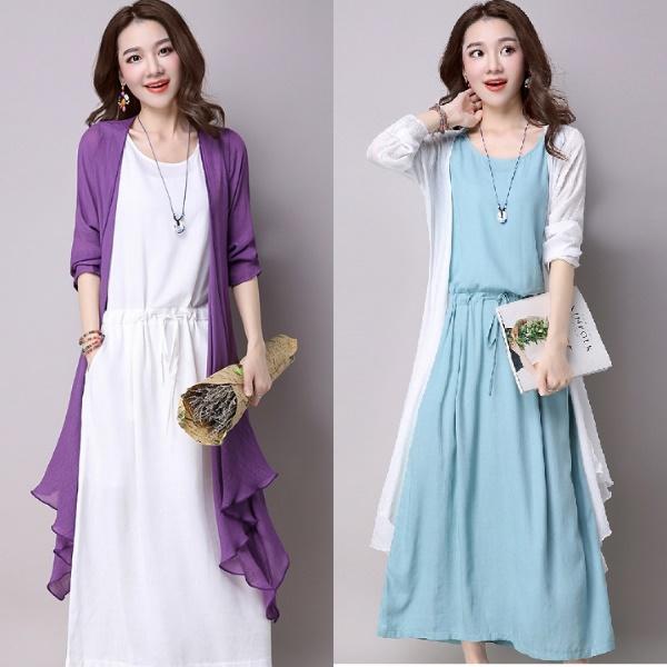 M-2XL(及膝版)休閒簡約棉麻背心短袖洋裝連身裙+寬鬆開衫外套兩件式套裝(2色)-凱西娃娃