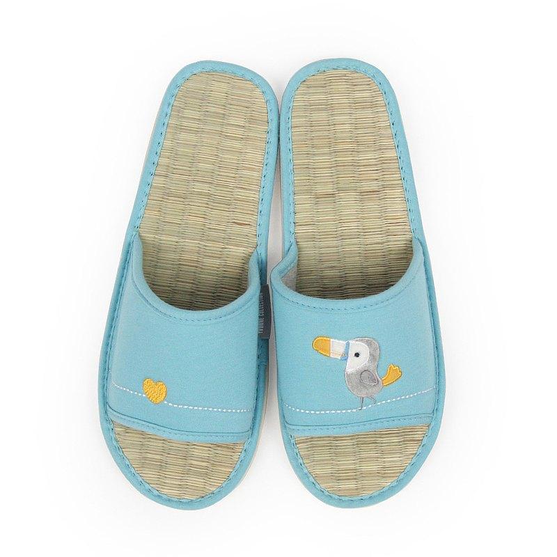 大嘴鳥藺草室內拖鞋-晴空藍