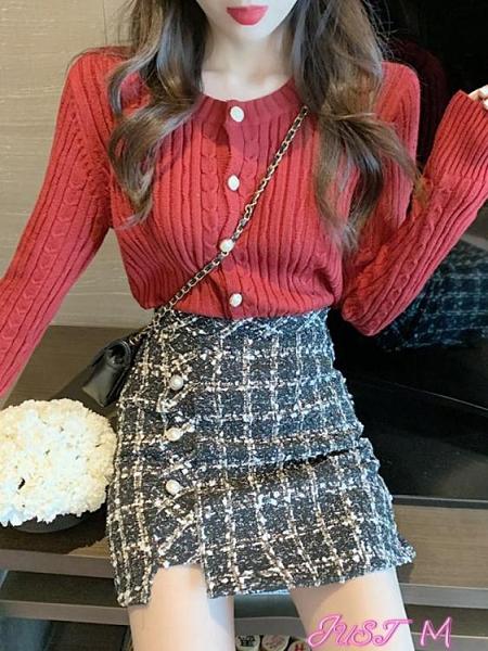 短裙套裝毛衣短裙子兩件套女秋冬季港風復古小矮個子穿搭配可鹽可甜套裝裙 JUST M