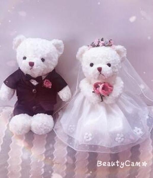 結婚泰迪熊情侶公仔熊壓床娃娃一對毛絨玩具送人禮物婚房裝飾婚床