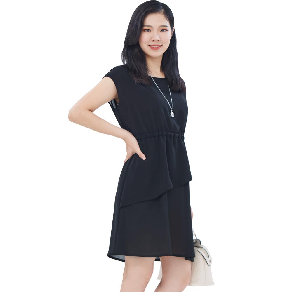 Jumase 清秀淑女 抽繩 小洋裝一經典黑  中大尺碼(180488629)短袖 中F  現貨