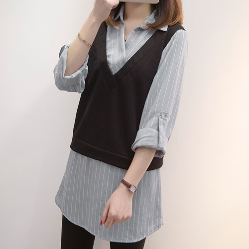 XL-5XL實拍氣質假兩件顯瘦條紋襯衫長袖百搭上衣大碼女裝(單色圖片色)-凱西娃娃